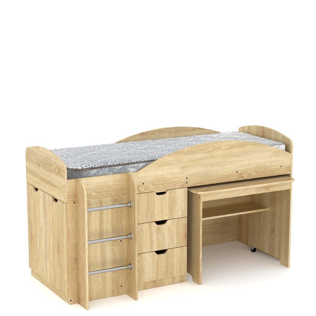 Кровать чердак Универсал цвет дуб сонома