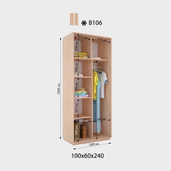 2-х дверный шкаф-купе Виват В106 (100x60x240)