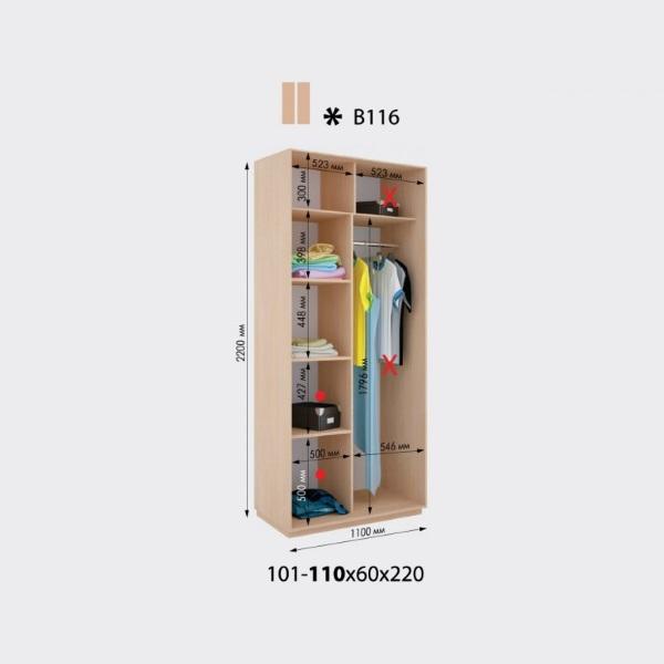 2-х дверный шкаф-купе Виват В116 (101-109x60x220)