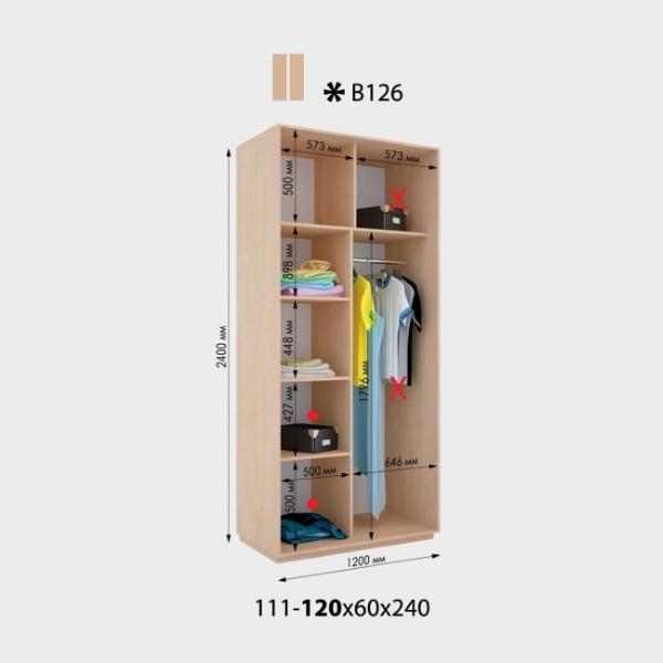 2-х дверный шкаф-купе Виват В126 (120x60x240)