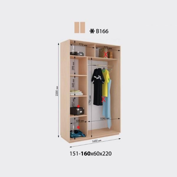 2-х дверный шкаф-купе Виват В166 (160x60x220)