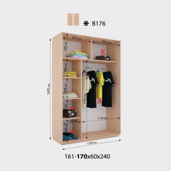 2-х дверный шкаф-купе Виват В176 (170x60x240)