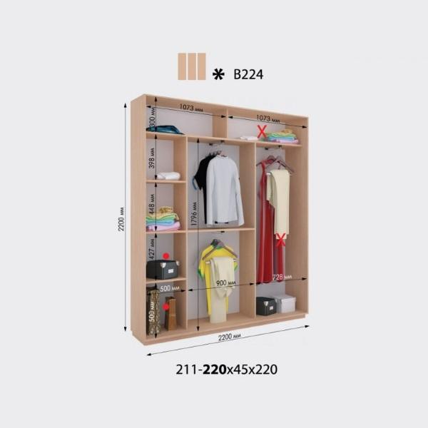 3-х дверный шкаф-купе Виват В224 (220x45x220)