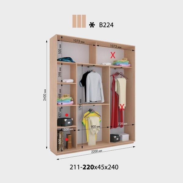 3-х дверный шкаф-купе Виват В224 (220x45x240)