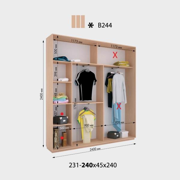 3-х дверный шкаф-купе Виват В244 (240x45x240)