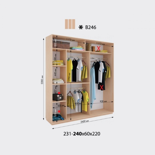 3-х дверный шкаф-купе Виват В246 (240x60x220)