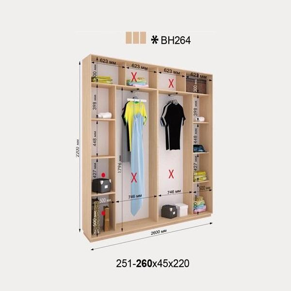 3-х дверный шкаф-купе Виват ВН264 (260x45x220)
