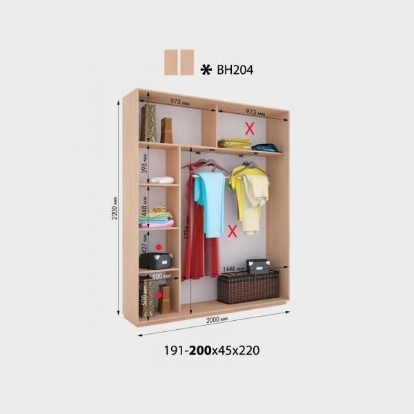 2-х дверный шкаф-купе Виват ВН204 (200x45x220)