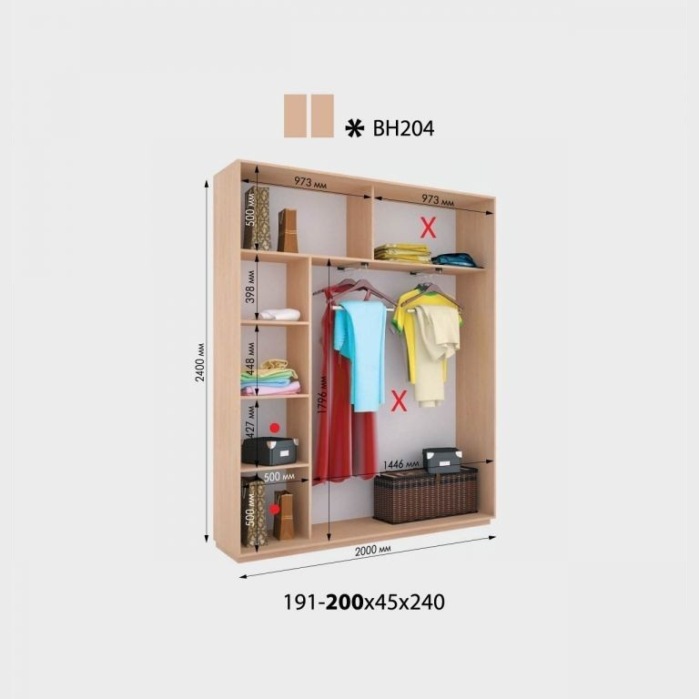 2-х дверный шкаф-купе Виват ВН204 (200x45x240)