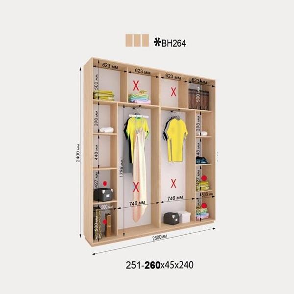 3-х дверный шкаф-купе Виват ВН264 (260x45x240)