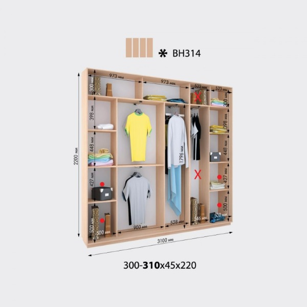 4-х дверный шкаф-купе Виват ВН314 (310x45x220)