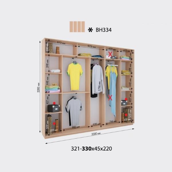 4-х дверный шкаф-купе Виват ВН334 (330x45x220)