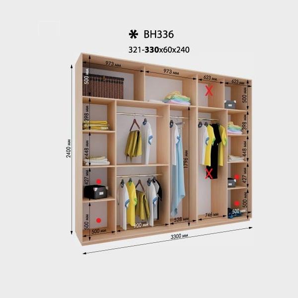 4-х дверный шкаф-купе Виват ВН336 (330x60x240)