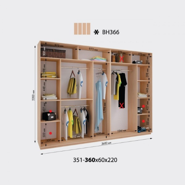 4-х дверный шкаф-купе Виват ВН366 (360x60x220)