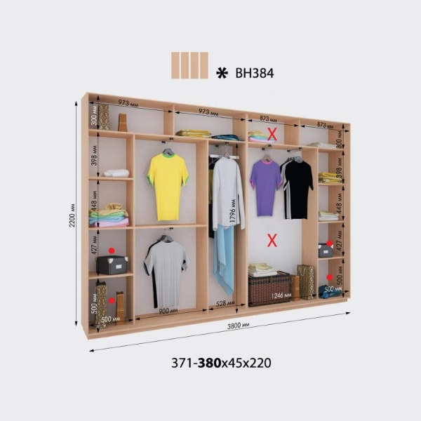 4-х дверный шкаф-купе Виват ВН384 (380x45x220)