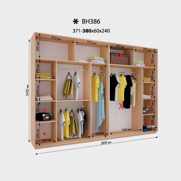 4-х дверный шкаф-купе Виват ВН386 (380x60x240)