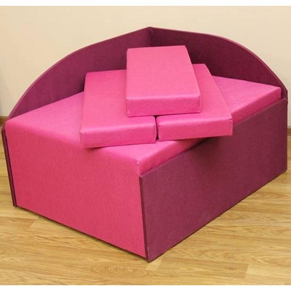 Кубик, диван в ткани пленет пинк 18 и пленет 19 виолет. Акция