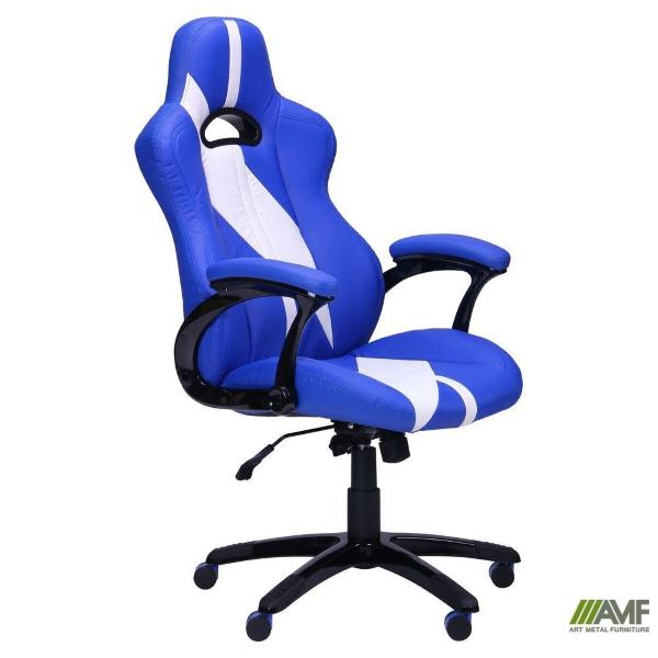 Игровое кресло Форсаж №5 (1675) к/з PU синий/белые вставки