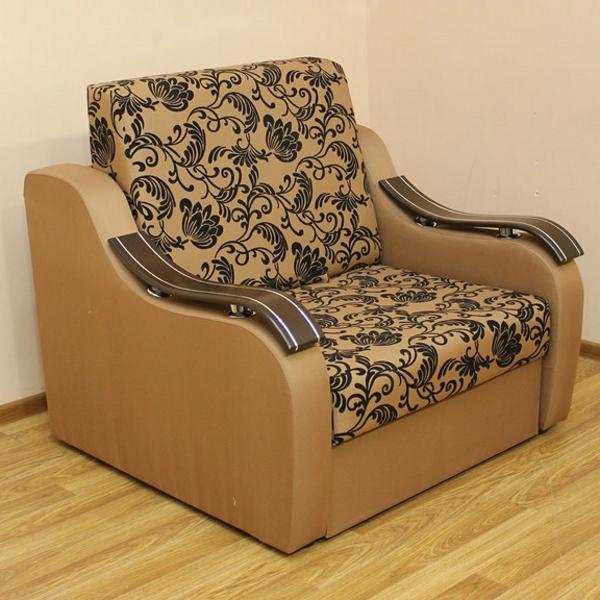Адель, кресло-кровать в ткани нео флок голд браун и нео голд браун. 1-я категория