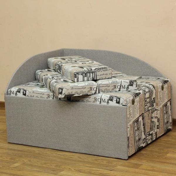 Кубик, диван в ткани экшен 02 и однотон. 1-я категория