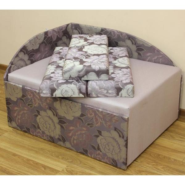 Кубик диван в ткани флора 04 и однотон. 1-я категория