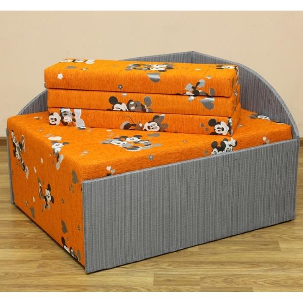 Кубик, диван в ткани микки оранж и сильвер грей. 1-я категория