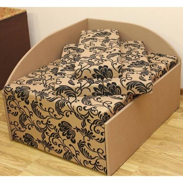 Кубик, диван в ткани нео флок голд браун и нео голд браун. 1-я категория