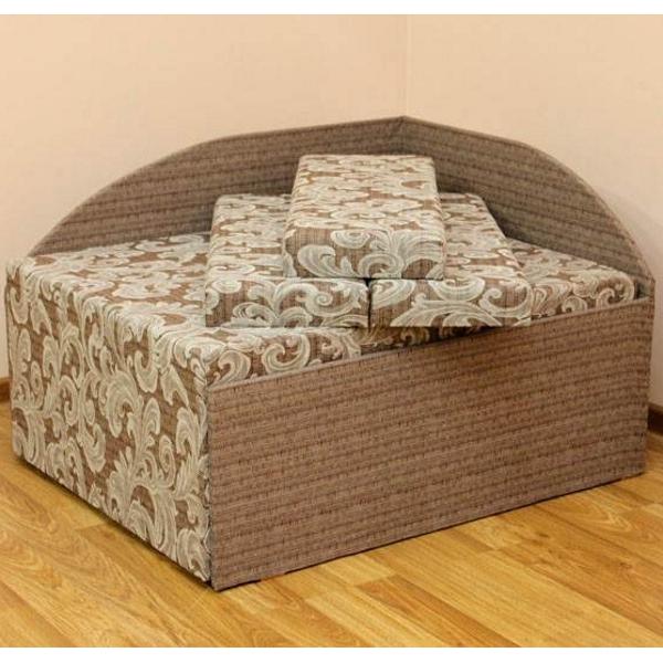 Кубик, диван в ткани салют браун и комби браун. 1-я категория