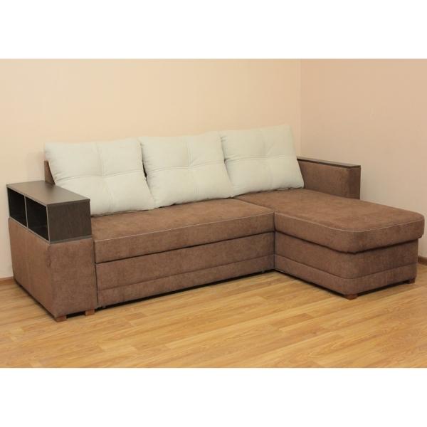 Лира, угловой диван в ткани мисти милк и мисти браун, 1-я категория