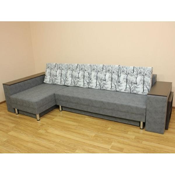 Сафари, угловой диван в ткани шанель вайт и альфа грей. 1-я категория