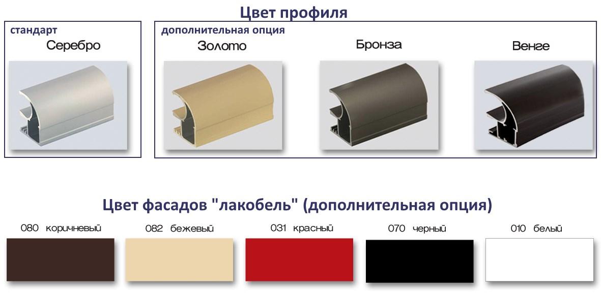 Варианты цвета профиля и фасадов шкафов-купе Мебель Сич