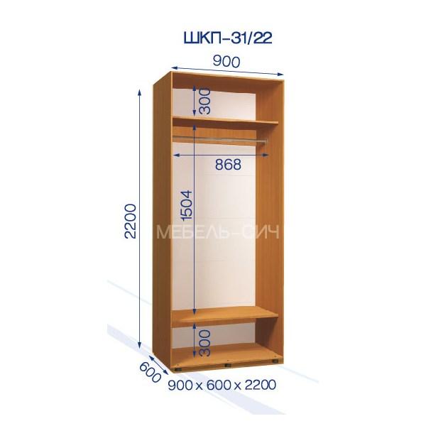 Приставной Шкаф-купе Стандарт ШКП-31/22 (90x60x220)
