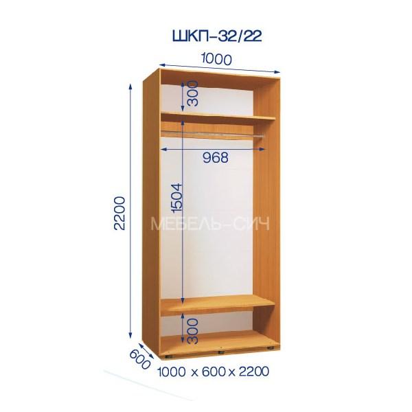 Приставной Шкаф-купе Стандарт ШКП-32/22 (100x60x220)