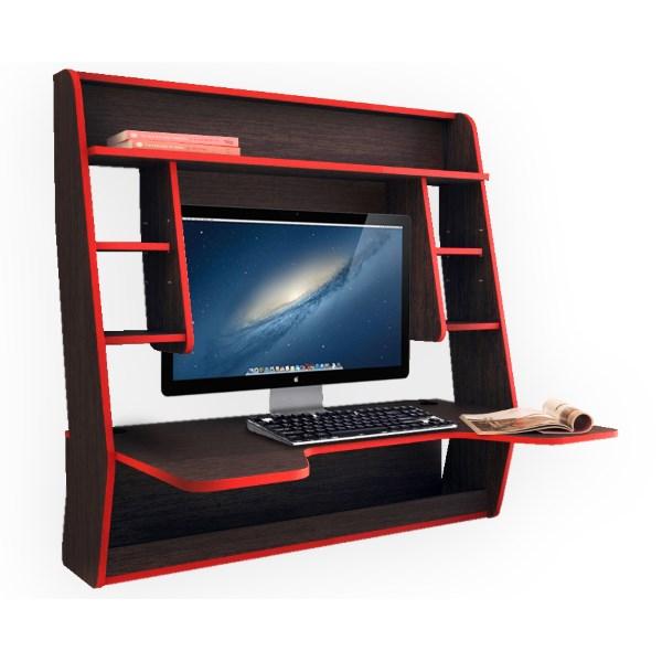 Геймерский навесной стол ZEUS IGROK-MAX (венге/красный)