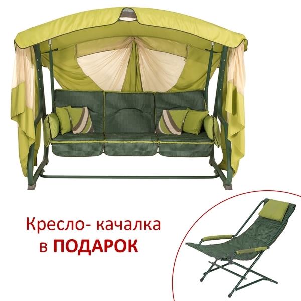 Качели Алиса Двусторонняя, Зеленый олефин + Дралон вертикальная полоса (2140020)