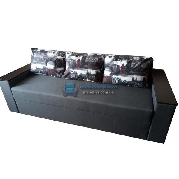 Диван Бостон dk.Grey14(тёмно-серый)/подушки Амстердам