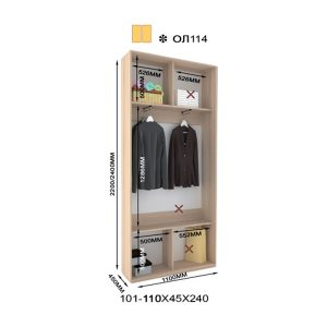 2-х дверный шкаф-купе Оскар Лайт ОЛ114