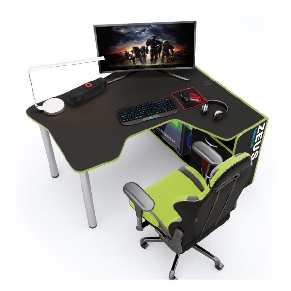 Геймерский стол ZEUS IGROK-TOR IT-4, черный/зеленый