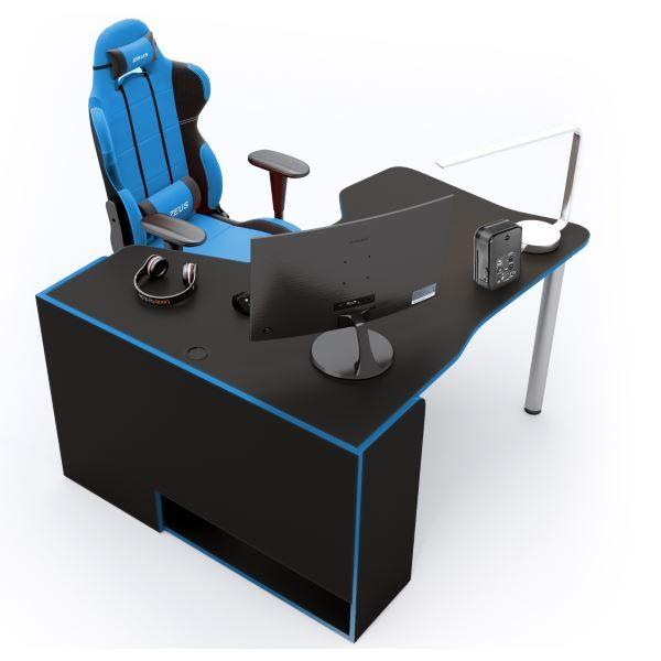 Геймерский стол ZEUS IGROK-TOR IT-2, черный/синий