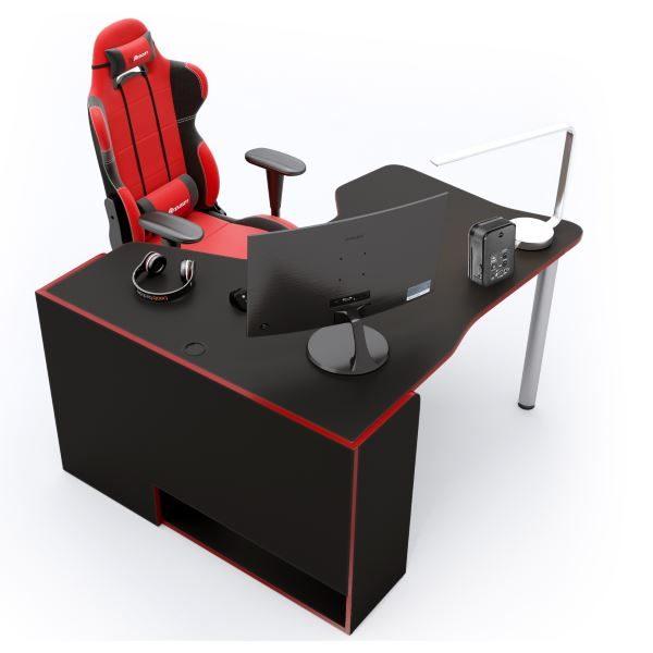 Геймерский стол ZEUS IGROK-TOR IT-3, черный/красный