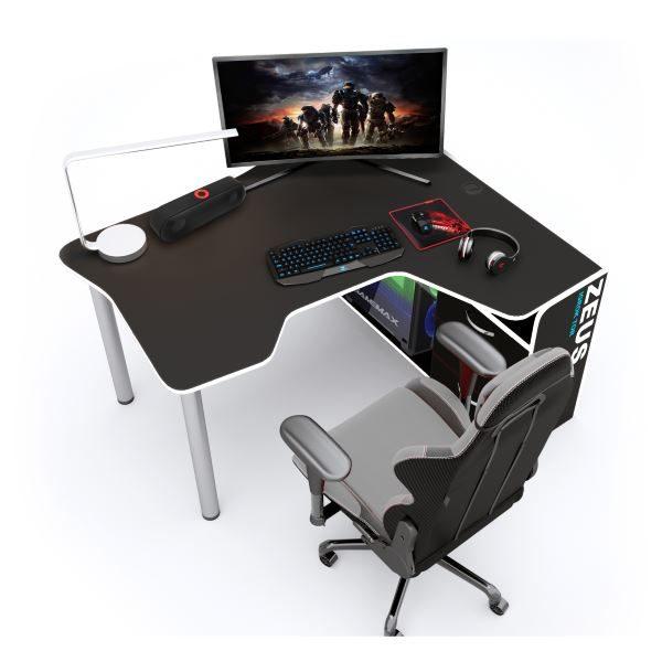 Геймерский стол ZEUS IGROK-TOR IT-5, черный/белый