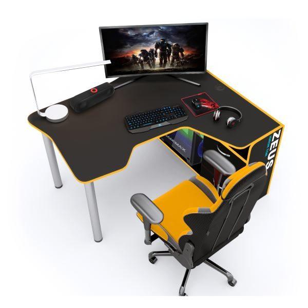 Геймерский стол ZEUS IGROK-TOR, черный/желтый