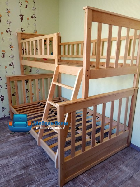Двухъярусная, трёхместная кровать Жасмин 140