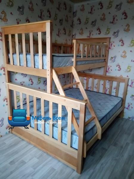 Двухъярусная, трёхместная кровать Жасмин 140 фото