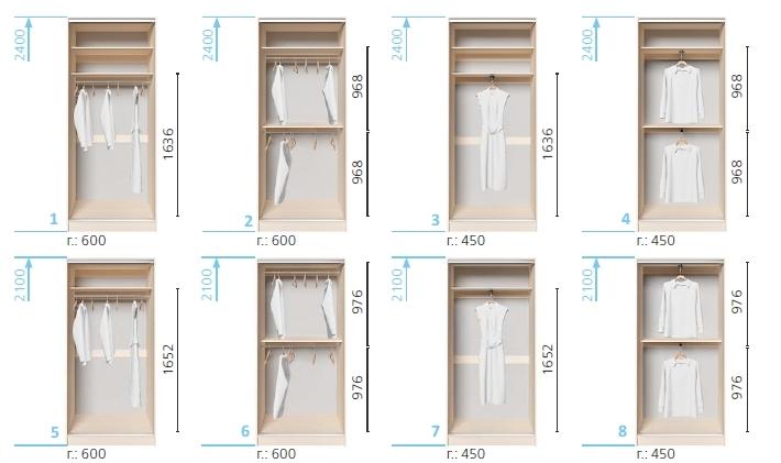 Варианты корпуса 2-х дверного шкафа, шириной 1000 мм