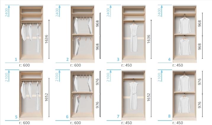 Варианты корпуса 2-х дверного шкафа, шириной 1100 мм