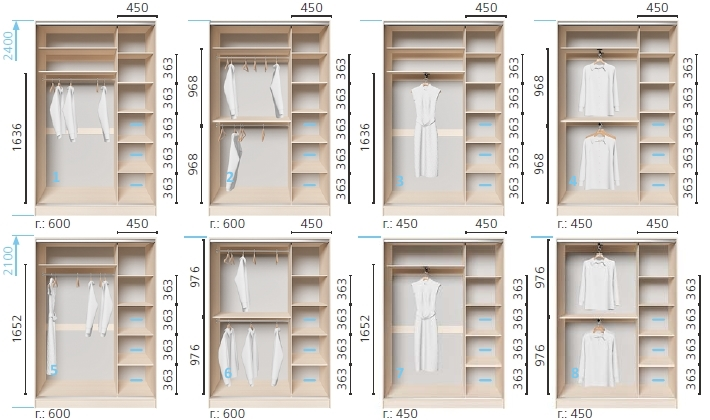 Варианты корпуса 2-х дверного шкафа, шириной 1200 мм