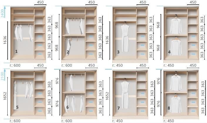 Варианты корпуса 2-х дверного шкафа, шириной 1300 мм