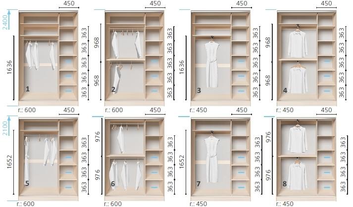 Варианты корпуса 2-х дверного шкафа, шириной 1400 мм