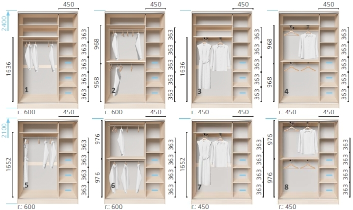 Варианты корпуса 2-х дверного шкафа, шириной 1600 мм